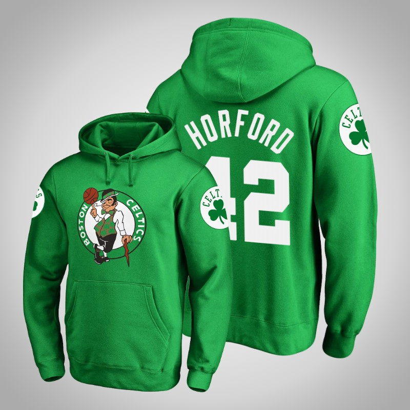felpa boston celtics 2018-2019 al Horford 42 Logo principale Kelly verde uomo