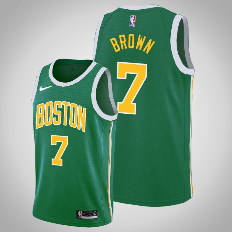 Maglie boston celtics 2018-2019 Jaylen brown 7 Guadagnato verde uomo