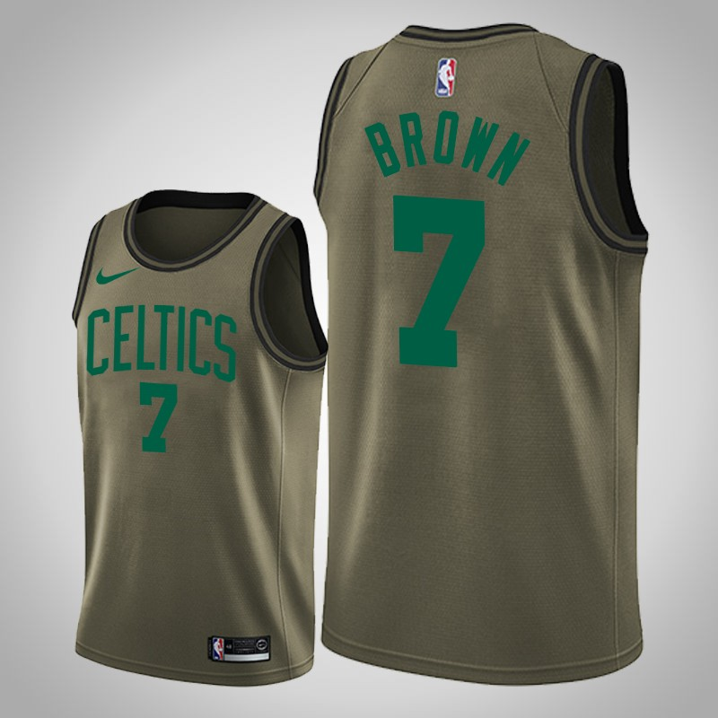 Maglie boston celtics 2019-2020 Jaylen brown 7 camo oliva uomo