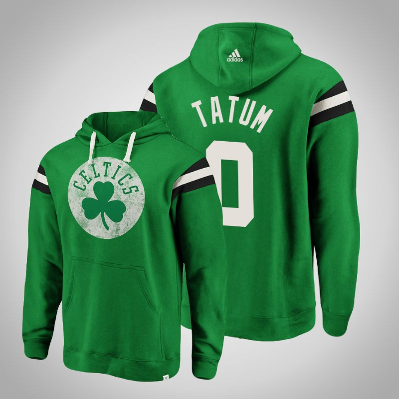 felpa boston celtics Jayson Tatum 0 striscia retro verde uomo