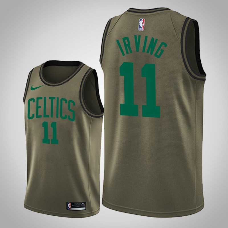 Maglie boston celtics 2018-19 Kyrie Irving 11 camo oliva uomo