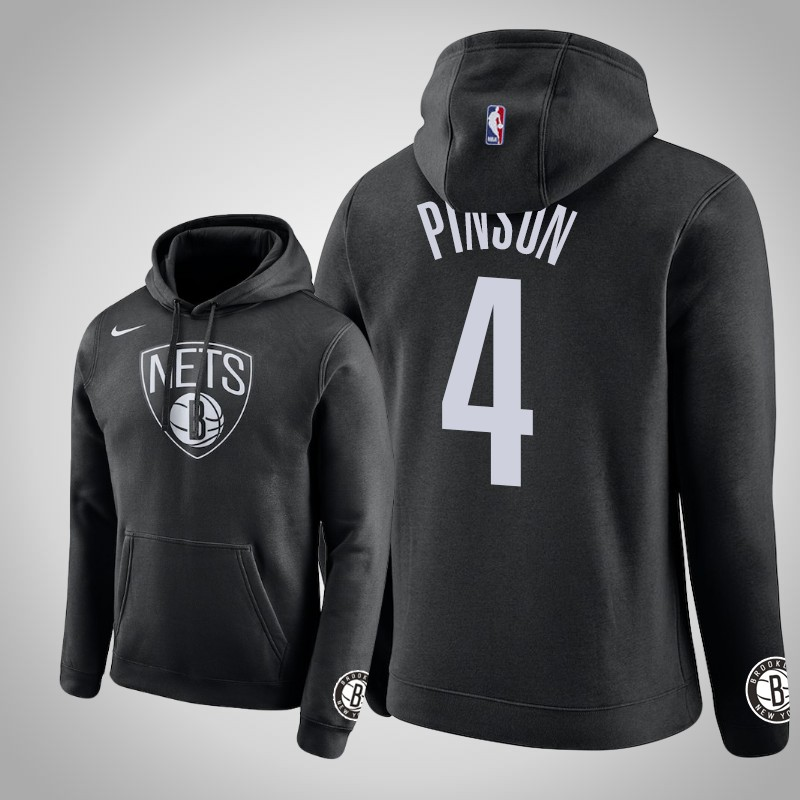 felpa brooklyn Nets 2019-2020 Theo Pinson 4 club nero uomo
