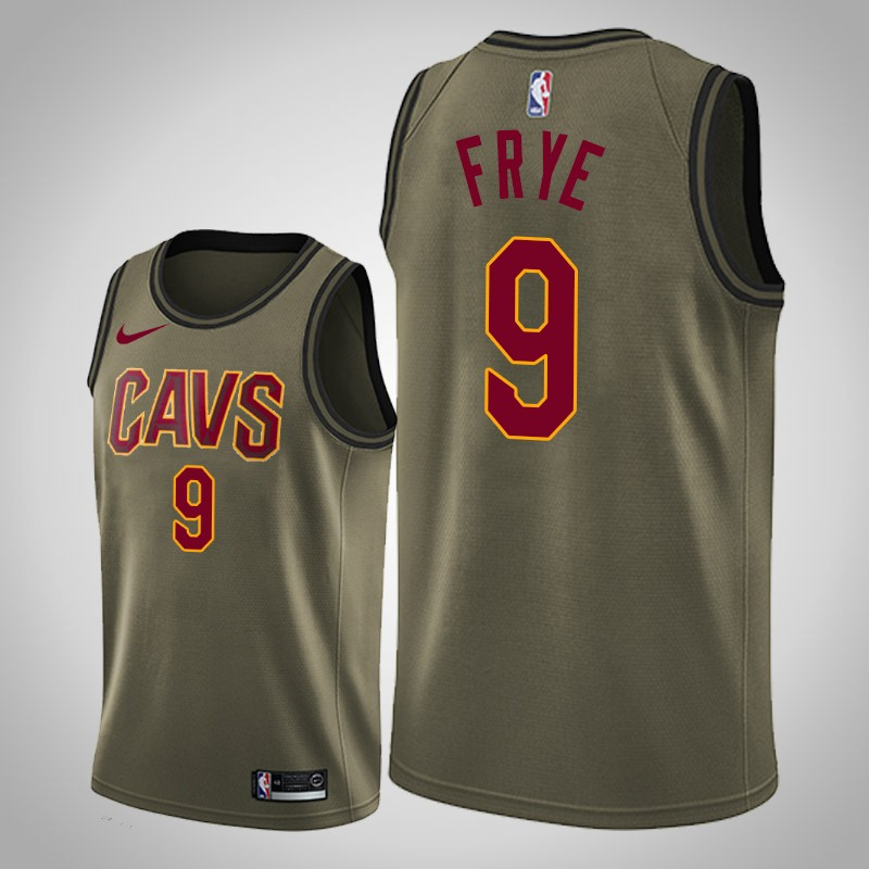 Maglie cleveland cavaliers 2018-19 channing Frye 9 camo oliva uomo