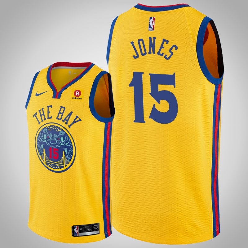 Maglie Golden State Warriors 2018-19 Damian Jones città Oro uomo