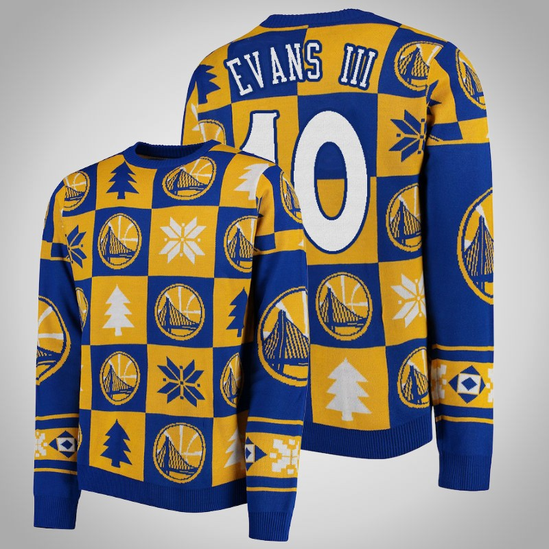 maglione Golden State Warriors 2018-2019 Jacob Evans III 10 natale Oro reale uomo