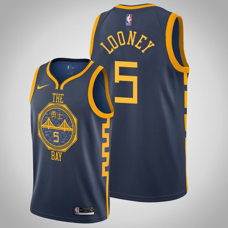 Maglie Golden State Warriors 2018-2019 Kevon Looney 5 città Marina Militare uomo