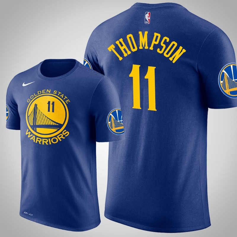 maglietta Golden State Warriors 2018-19 Klay Thompson 11 Icona reale uomo