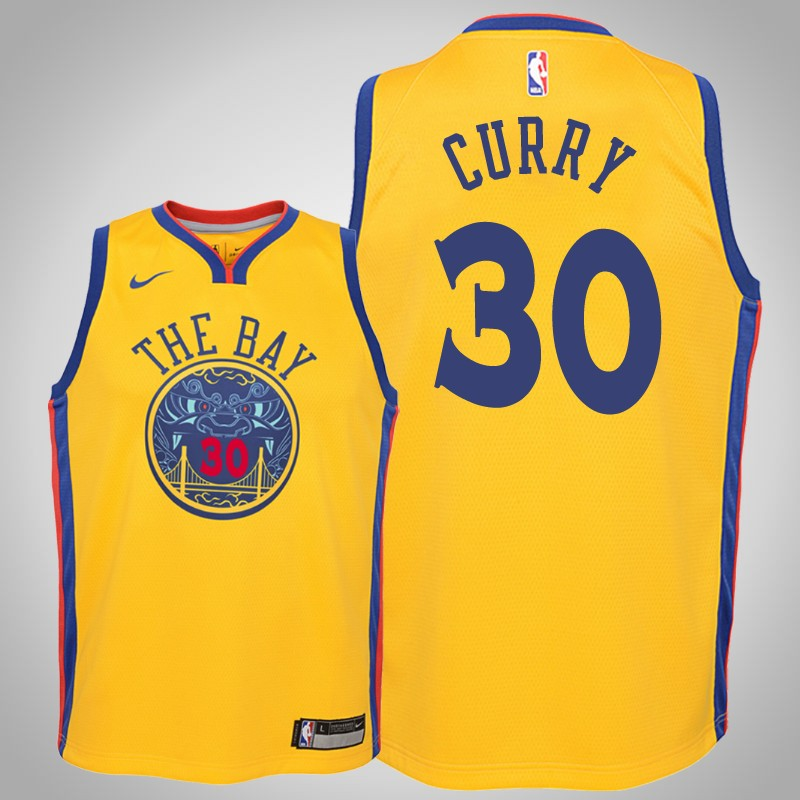 Maglie Golden State Warriors 2018-19 Stephen curry città Oro bambino