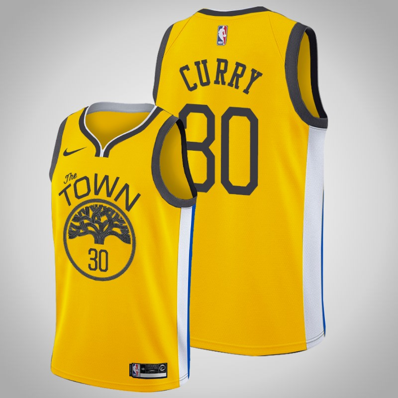 Maglie Golden State Warriors 2019-2020 Stephen curry 30 Guadagnato Oro uomo