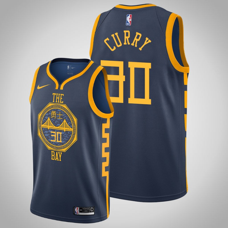 Maglie Golden State Warriors 2019 Stephen curry 30 città Marina Militare uomo