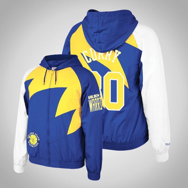giacca Golden State Warriors Stephen curry 30 Dente di squalo reale-Oro uomo