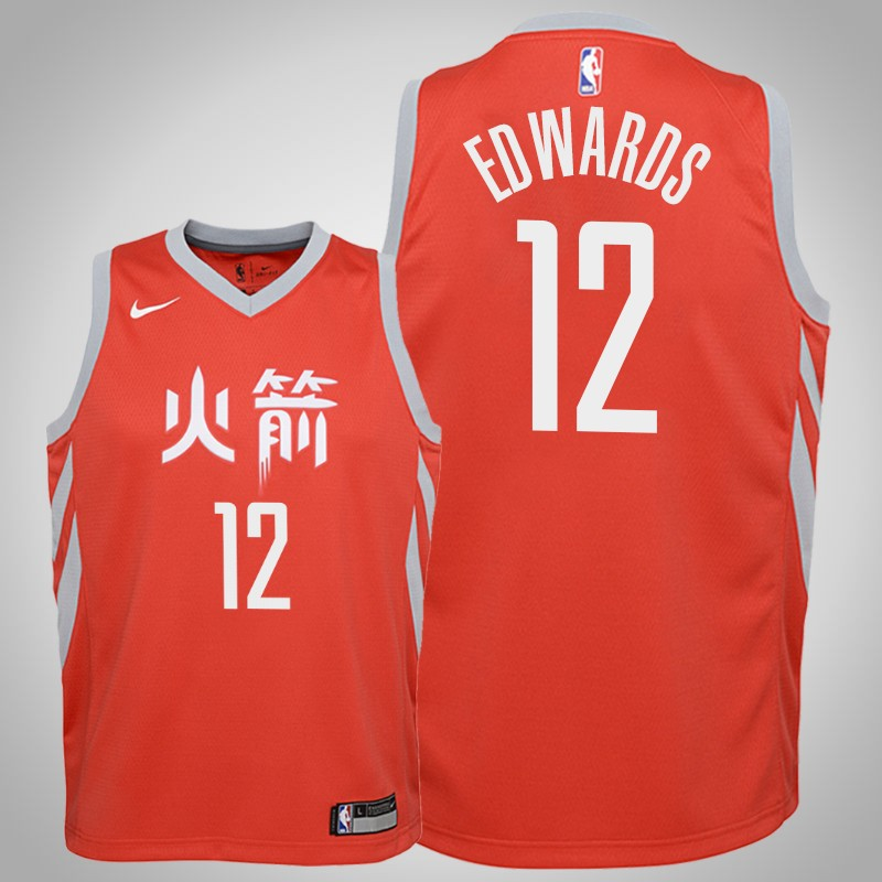 Maglie Houston Rockets 2019-20 Vincent Edwards 12 città rosso bambino