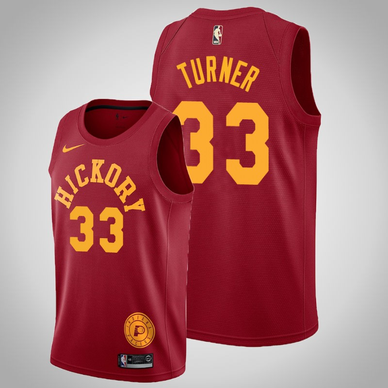 canotta Indiana Pacers Myles Turner 33 Hardwood classici rosso uomo