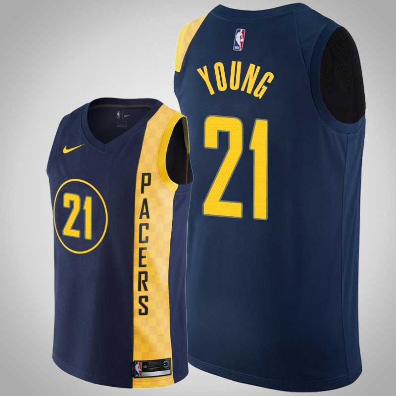 Maglie Indiana Pacers 2018-19 Thaddeus Young 21 città Marina Militare uomo