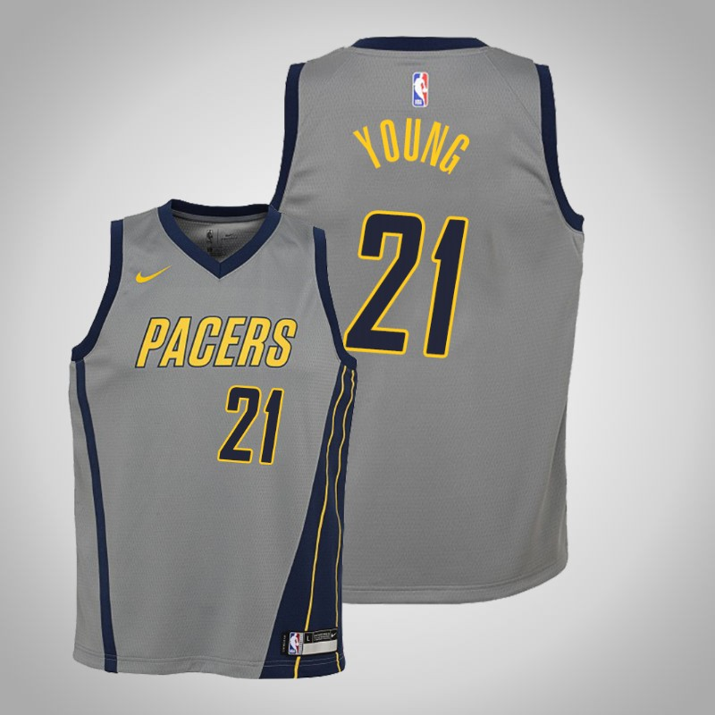 Maglie Indiana Pacers 2019-2020 Thaddeus Young 21 città grigio bambino
