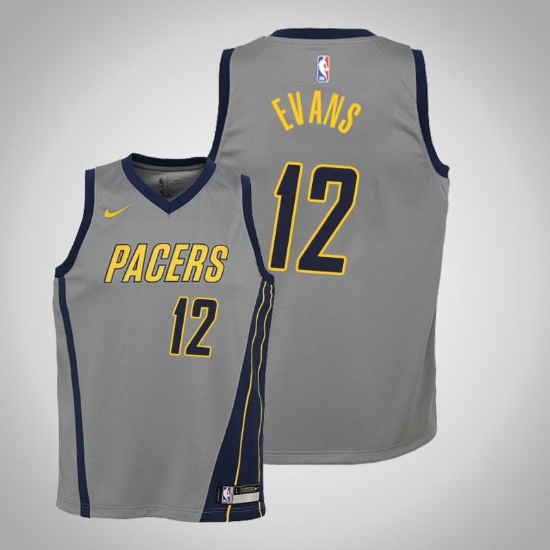 Maglie Indiana Pacers 2019-20 Tyreke Evans 12 città grigio bambino