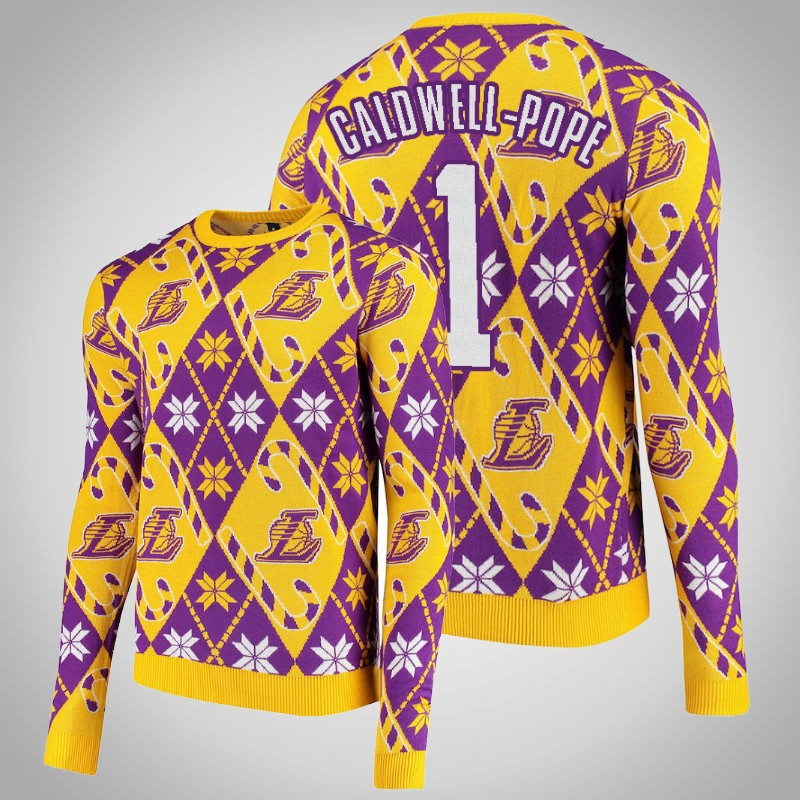 maglione Los angeles Lakers 2019-2020 Kentavious caldwell-Pope 1 natale Giallo viola uomo