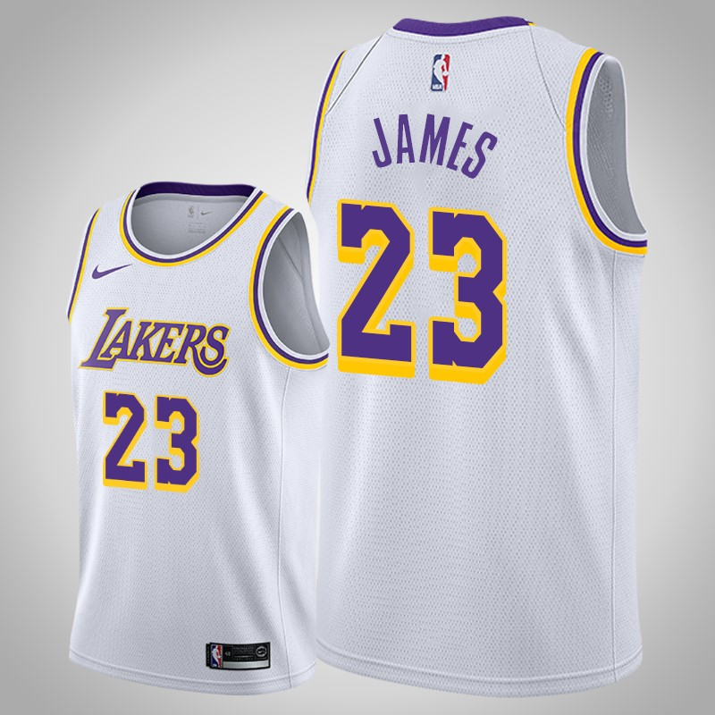 canotta Los angeles Lakers 2019 Lebron James 23 associazione bianca uomo