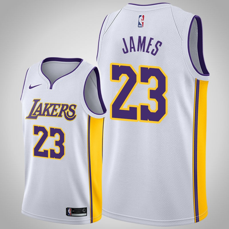 canotta Los angeles Lakers 2020 Lebron James 23 associazione bianca uomo