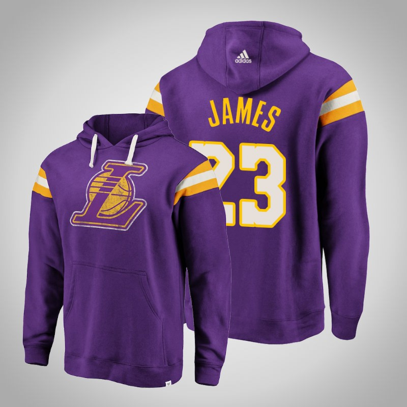 felpa Los angeles Lakers Lebron James 23 striscia retro viola uomo