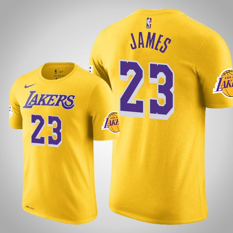maglietta Los angeles Lakers 2019-20 Lebron James 23 shootaround Oro uomo