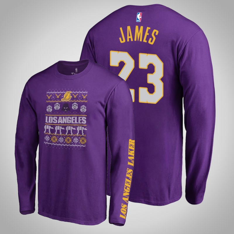 maglietta Los angeles Lakers Lebron James Guerre stellari viola uomo