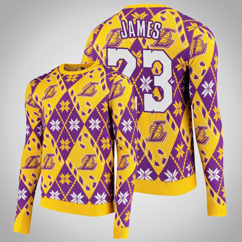 maglione Los angeles Lakers 2020 Lebron James 23 natale Giallo viola uomo