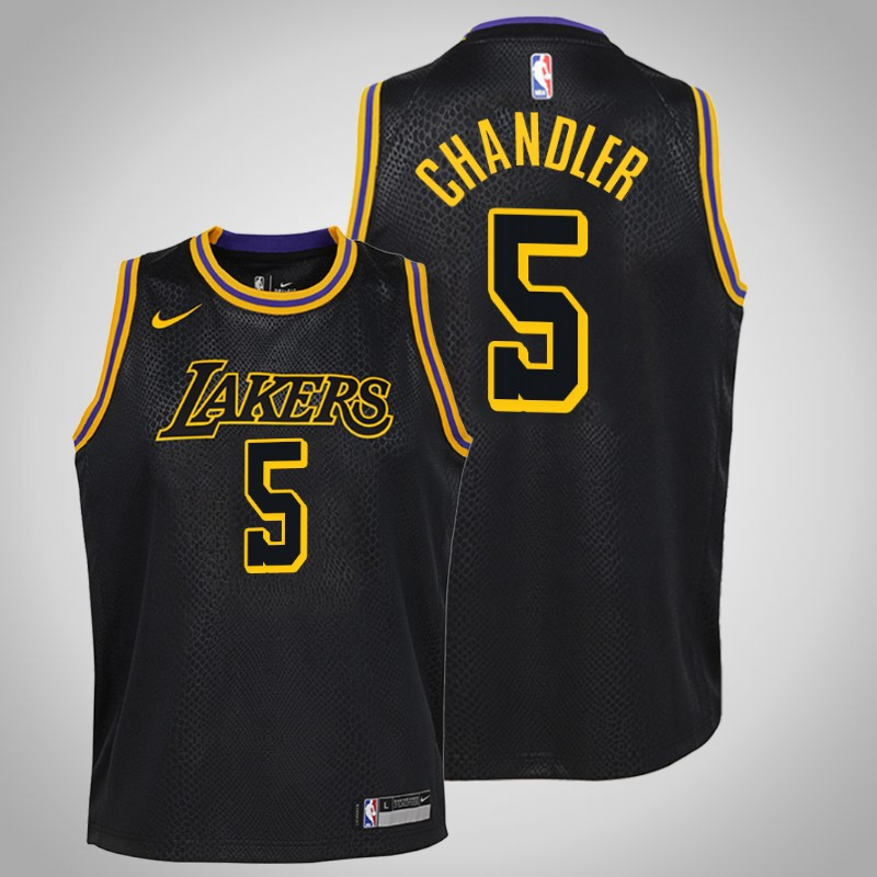 Maglie Los angeles Lakers 2018-2019 Tyson chandler 5 città nero bambino