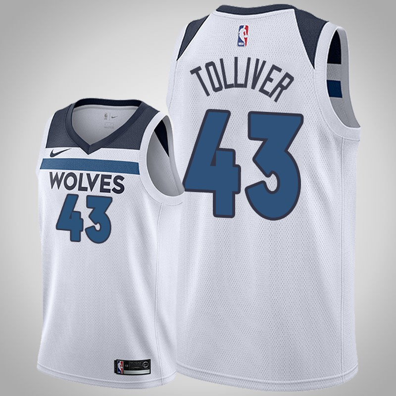 canotta Minnesota Timberwolves 2019-2020 anthony Tolliver 43 associazione bianca uomo