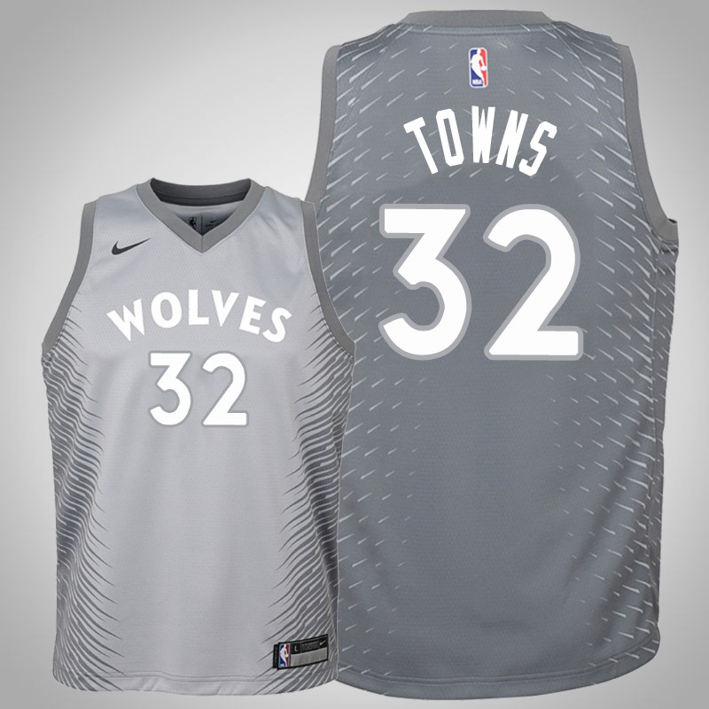 Maglie Minnesota Timberwolves 2018-19 Karl-anthony Towns 32 città grigio bambino