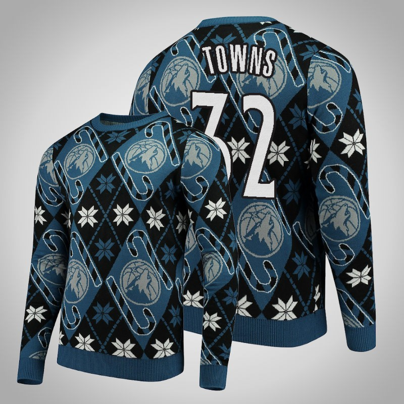 maglione Minnesota Timberwolves 2018-19 Karl-anthony Towns 32 natale blu nero uomo