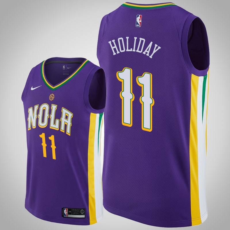 Maglie New Orleans Pelicans 2018-19 Jrue Holiday 11 città viola uomo