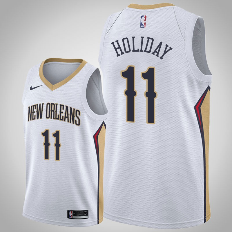 canotta New Orleans Pelicans 2019-2020 Jrue Holiday 11 associazione bianca uomo