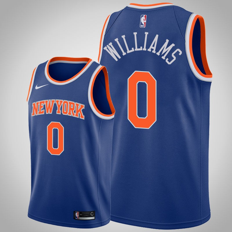 maglia New York Knicks 2020 Troy Williams 0 Icona blu uomo