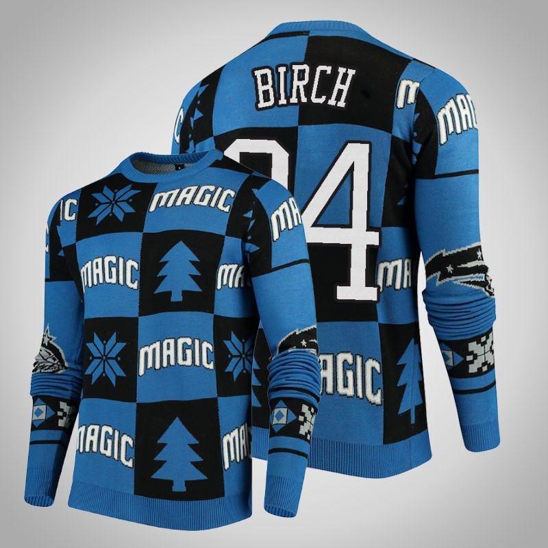 maglione Orlando Magic 2018-2019 Khem birch 24 natale reale nero uomo