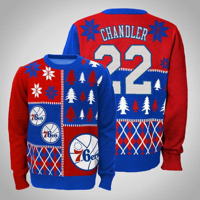 maglione Philadelphia 76ers 2018-2019 Wilson chandler 22 natale rosso reale uomo